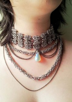Opalite Metal Choker  Victorian  Steampunk  by LittleCoveCreations, $153.00