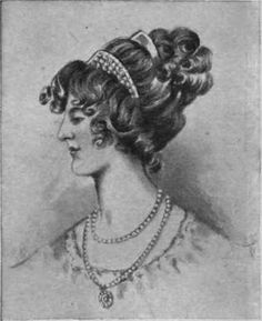 A coiffure of the Regency, 1807, based upon the models adopted the brim, framing the face