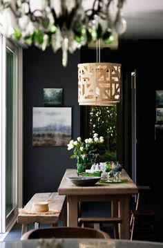 black Interior Fit Out, Kitchen Interior, Interior And Exterior, Interior Design, House Color Schemes, House Colors, Dining Room Inspiration, Interior Inspiration, Tropical Kitchen