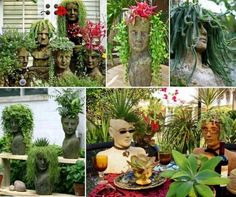These Homemade Cement Head Planters Will Look Fantastic Around Your Garden.  Theyu0027re Easy