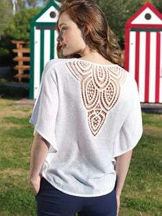 pull décolleté V broderie papillon dos Pulls, Tunic Tops, Blouse, Long Sleeve, Sleeves, Clothes, Women, Fashion, Butterfly Embroidery