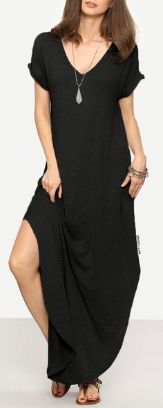 Rolled-cuff Pockets Side Split Curved Dress. Four colors available.