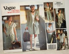 Vintage 1990s Sewing Pattern Vogue 2637  Career by Old2NewMemories