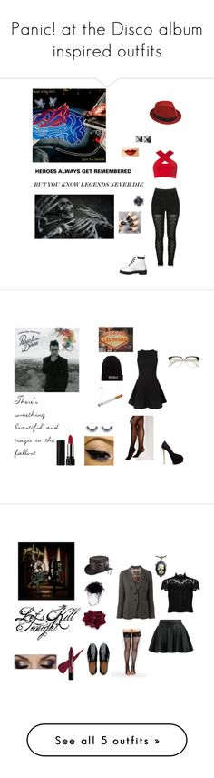 """Panic! at the Disco album inspired outfits"" by lazy-cute-diva ❤ liked on Polyvore featuring Motel, Dr. Martens, Stetson, Jeffree Star, Waterford, Cameo Rose, Kat Von D, Kill Brand, Giuseppe Zanotti and Vince Camuto"
