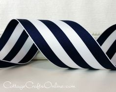 Dark navy blue and white wide stripe grosgrain type ribbon, 2 1/2 wide, with a wired edge by Offray Lion Ribbon. Brings to mind the stripes of a beach cabana, traveling carnivals and party tents -- evocative summer images!  This listing is for a 3 yard length. If you purchase more than one, your order will be cut as one length. To see our items with an Americana theme, click here, http://etsy.me/1Fg4bdk  RETURN POLICY: Please choose carefully. Once placed, orders for cut r...