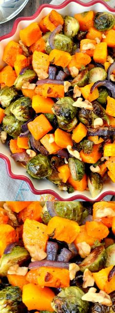 These Roasted Brussels Sprouts with Butternut Squash from My Suburban Kitchen make the perfect holiday side dish at Thanksgiving and Christmas! This recipe is easy to make – and even easier if you pick up the pre-chopped butternut squash from your local supermarket!