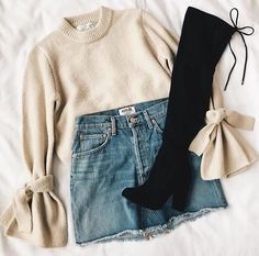 Cream Sweater and Denim Skirt with Black Thigh-High Boots