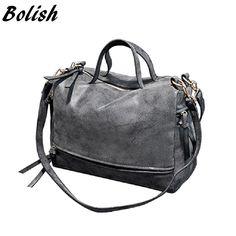 Bolish New Arrive Women Shoulder Bag Nubuck Leather women handbag Vintage Messenger  Bag Motorcycle Crossbody Bags 94f1a768d5dec