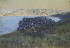 """Llewelyn Lloyd (Livorno 1879 – Firenze 1949), """"L'addio del sole nel Golfo di Procchio"""", 1908. Disegno Acquarello, Pastello/cartone , 45 cm x 64.5 cm."""