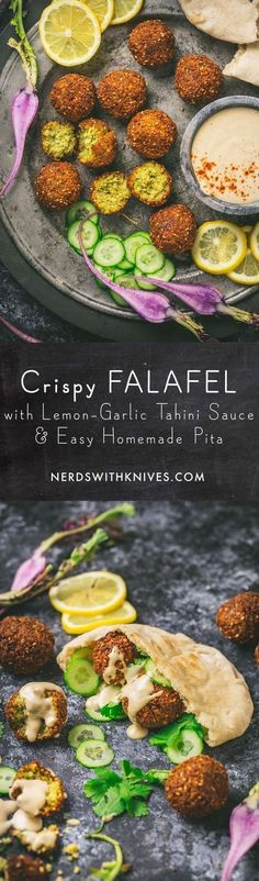Falafel – crispy fried nuggets of ground chickpeas, flavored with herbs and spices. Serve them with Lemon-Garlic Tahini Sauce and warm, homemade Pita Bread. Vegan and gluten free friendly.