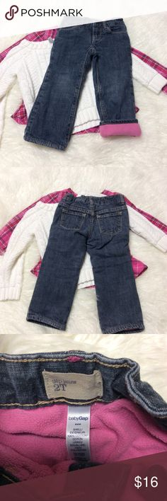 2T BABY GAP FLEECE LINED JEANS Keep that little one warm and cozy in these adorable jeans by gap. Gently used GAP Bottoms Jeans