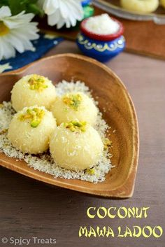 You can make it as a plain coconut ladoo by skipping mawa powder. North Indian Recipes, Indian Dessert Recipes, Indian Sweets, Sweets Recipes, Gourmet Recipes, My Recipes, Cooking Recipes, Recipies, Cooking Time
