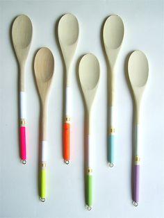 Modern Neon Hardwood Serving Spoons, Set of Six