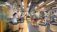 MIT - Toy Maker Lab Nana Wall, Maker Labs, Innovation Lab, Wooden Ceilings, Workspace Inspiration, Ventilation System, Learning Spaces, Office Interiors, School Design