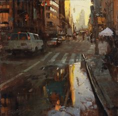Urban life by San Francisco artist Hsin-Yao Tseng Street Painting, City Painting, City Landscape, Urban Landscape, Urban Life, Urban Art, Traditional Paintings, Contemporary Paintings, Watercolor Landscape
