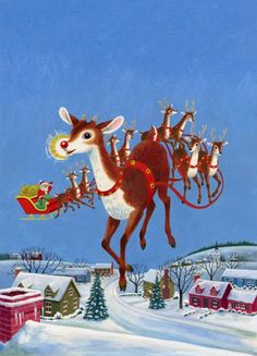 """""""Rudolph The Red-Nosed Reindeer"""" by Barbara Shook Hazen, illustrated by Richard Scarry, © 1958 Christmas Scenes, Noel Christmas, Christmas Books, Retro Christmas, Christmas Crafts, Christmas Labels, Christmas Graphics, Nordic Christmas, Christmas Candles"""