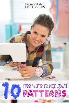 Free Women's Nightgown Patterns - Save money and sew your own nightgowns with these free DIY Nightgown Patterns and Tutorials. Sewing Patterns Free, Sewing Tutorials, Sewing Projects For Beginners, Sewing Hacks, Sewing Crafts, Sewing Tips, Techniques Couture, Sewing Techniques, Nightgowns For Women