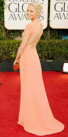 The First Time the 2015 Golden Globes Nominees Hit the Red Carpet - Emma Stone, 2011 from #InStyle