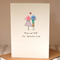 personalised 'button love' handmade card by hannah shelbourne designs | notonthehighstreet.com