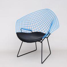 Rare Classic Harry Bertoia Diamond Chair in Blue