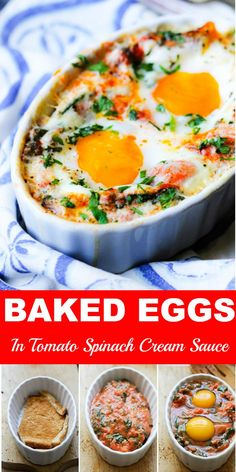 Baked Eggs in Tomato Spinach Cream Sauce - Baked Eggs in Tomato Spinach Cream Sauce is a full meal packed into a ramekin. It has bread, a supe - Egg Recipes For Dinner, Brunch Recipes, Breakfast Recipes, Single Serve Meals, Eggs In Peppers, Spinach Egg, Egg Dish, Food Shows, Baked Eggs