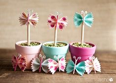 15 Spring Crafts: Bowtie Pasta Butterfly Pots