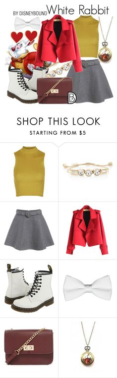 """""""White Rabbit"""" by leslieakay ❤ liked on Polyvore featuring Topshop, White House Black Market, Chicnova Fashion, Dr. Martens, Forever 21, Zara Taylor, Alison Lou, disney, disneybound and disneycharacter"""