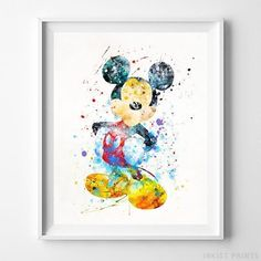 Mickey Mouse Disney Watercolor Wall Art Print. Prices from $9.95. Available at InkistPrints.com - #disney #watercolor #giftidea #disneyart #wallart #MickeyMouse