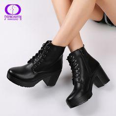 1909861415e6d AIMEIGAO Platform Heels Women Ankle Boots Soft Leather Thick high Heel  Platform Boots Winter Autumn Boots