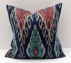 20x20 blue burgundy ikat pillow cover. cotton ikat by SilkWay