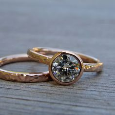 My latest obsession: rose gold rings with a low profile and possibly a sapphire.