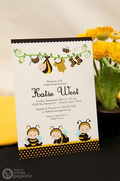 DIY PRINTABLE Invitation Card  Bumble Bee Baby by venspaperie