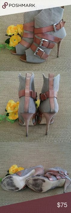 """Nine West Leather & Linen Booties! Nine West Leather & Linen Booties! Super Chic heels with triple wrapped leather buckle detail on Linen with 4"""" heel and side zippers. Normal wear and tear from being previously loved. Ready for new fashionista! Nine West Shoes Ankle Boots & Booties"""