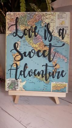 Welcome to Mira Sund Designs! This wooden sign on easel would make a perfect prop for any adventure themed wedding or bridal shower. F I N I S H E S All Wood Board 1/4 inch Thickness Vintage Map Print sealed with water based acrylic sealer Natural Finish