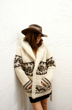A cozy hand-knit sweater for chilly October nights.