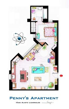 """This is a house-plan based in the apartments of Sheldon, Leonard and Penny from the TV show """"The Big Bang Theory"""".It's an original hand drawed plan, in scale, coloured with colour pens and with full details of furniture and complements …The. Penny The Big Bang Theory, The Big Band Theory, The Sims, Sims 3, Sims House Plans, House Floor Plans, Sims Building, Apartment Floor Plans, Sims 4 Build"""