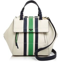 Tory Burch Half Moon Stripe Small Leather Satchel ($585) ❤ liked on Polyvore featuring bags, handbags, leather handbags, satchel purses, genuine leather purse, white leather purse and white leather satchel