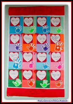 """Summer Bulletin Boards For Daycare Discover Kindness Quilt: """"Rules"""" in Preschool {Childs Perspective!} """"Our Kindness Quilt"""" Preschool Handprints and Rules thru the eyes of the Children Valentine Bulletin Boards, Preschool Bulletin Boards, Preschool Classroom, Classroom Ideas, Kindergarten, Toddler Classroom, Preschool Graduation, Classroom Design, Future Classroom"""