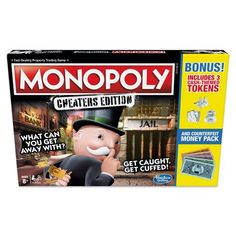 Monopoly Game: Cheaters Edition Board Game Value Pack - Exclusively Sold at Walmart Monopoly Game, Adult Party Games, Family Board Games, Game Guide, Cheaters, Family Game Night, How To Get Money, Packing, Fun