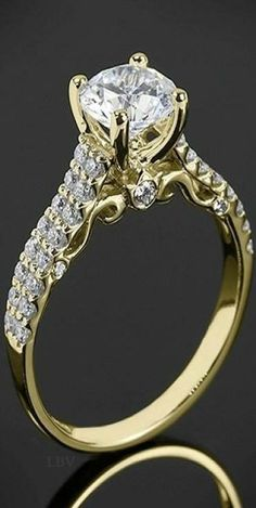 18k Yellow Gold Verragio Dual Row Shared-Prong Diamond Engagement Ring | LBV ♥✤