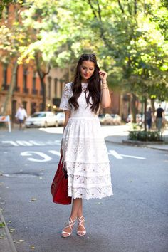 Trade in your LBD—it's all about pretty, feminine lace in refreshing white! Here are some of our favorite ways to style your white lace dress this season. White Dress Outfit, Cute White Dress, White Midi Dress, Little White Dresses, White Lace, Dress Outfits, Dress Up, Midi Dresses, Wearing Dresses