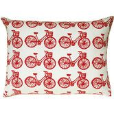 Bike All Over Pattern Block Print Accent Pillow