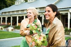 bridesmaids at winery wedding bouquets of dahlias garden roses dusty miller