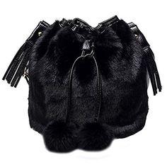 Women Bags Handbag Tote Over Shoulder Crossbody Messenger Leather Female  Rabbit Fur Black 2017 Bucket Fringe Small Fashion Bag 2f6657f12ac21