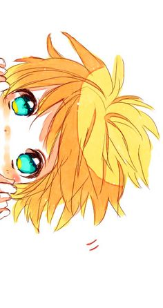 Blonde anime boy blue turquoise green eyes