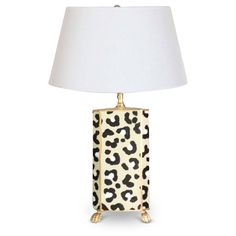 "This Hand Painted White Leopard Lamp with little gold feet is the perfect animal print accent to your bedroom, living room or office. Hand Painted Tole Lamp White Linen Shade 26"" **These lamps are han"