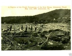 Old Photo Johnstown Flood Pa 1889 Iron Horse Train