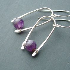 Silver Inverted Hoops with Amethyst #wirejewelry