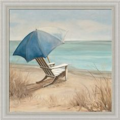 Summer Vacation I by Carol Robinson Adirondack Chair Beach Scene Art Print Framed Picture: Home & Kitchen