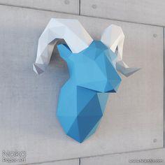 Ram Head Trophy 3D papercraft model. Downloadable by NokaPaperArt